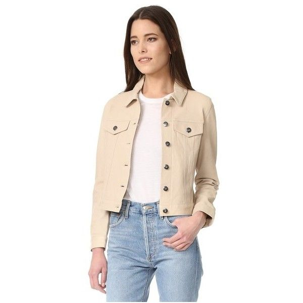 June Leather Jacket (3.815 DKK) ❤ liked on Polyvore featuring outerwear, jackets, sand, long sleeve denim jacket, pink jacket, pink denim jacket, long sleeve jacket and 100 leather jacket