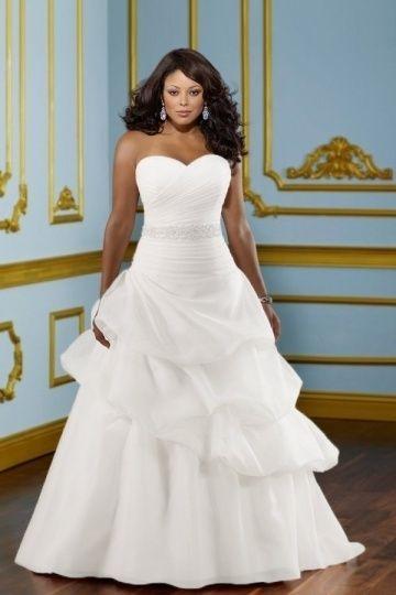 aefaabd4994 Robe de mariée de grande taille à A-ligne en organza ornée de bijoux ...