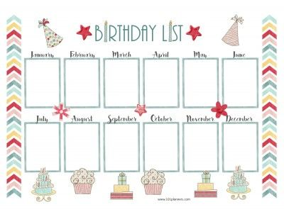 Pretty Birthday Calendar Template  Big Ideas