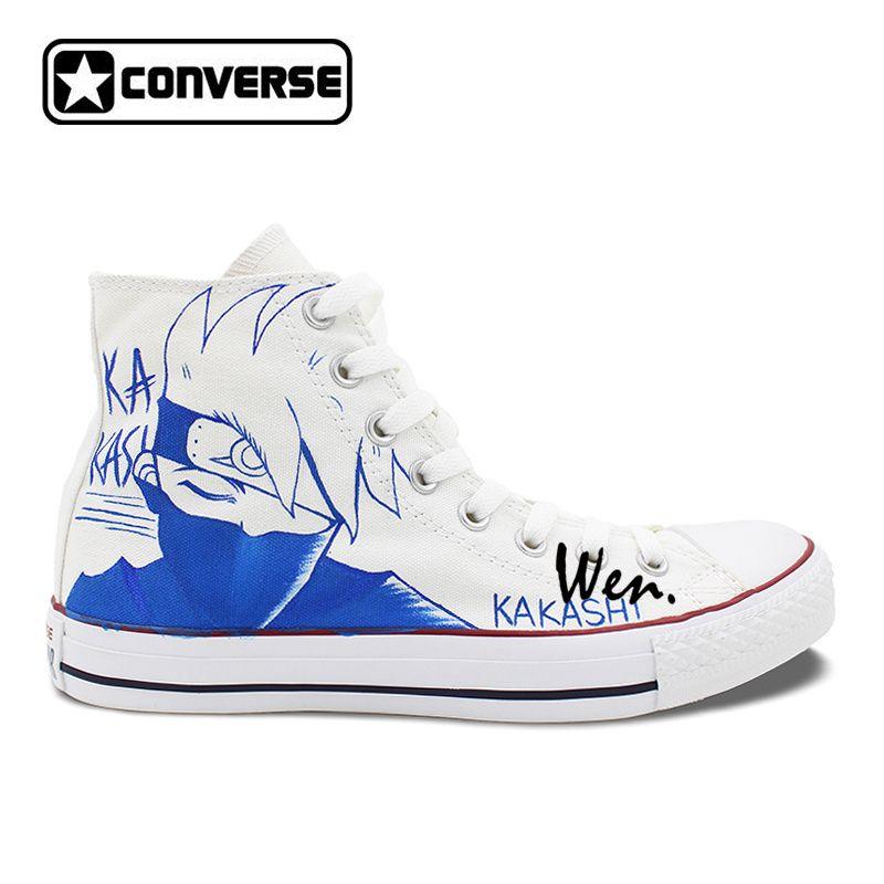 cd17ebbb5ef8 Naruto Kakashi White Converse Shoes Custom Hand Painted Canvas Shoes Men  Women Anime Converse Sneakers.