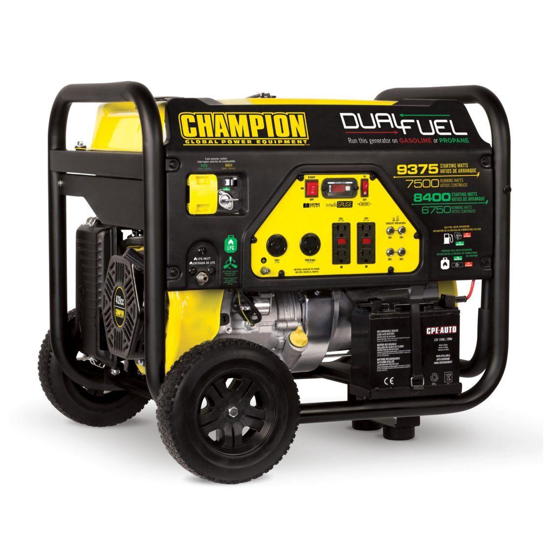 Champion Dual Fuel Generator 7500 Watts 2018 Gasoline and