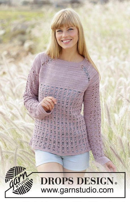 Crochet Sweet Indigo Women\'s Long Sleeve Raglan Sleeve Cotton ...