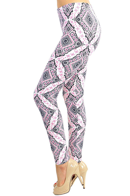 8902a1af894f0f ... LulaRoe Leggings Seasonal Spring Printed Leggings (Hot Pink Diamond  Aztec): VIV Collection Women Stripe Tribal Aztec Navajo Chevron Spring  Floral Newest ...