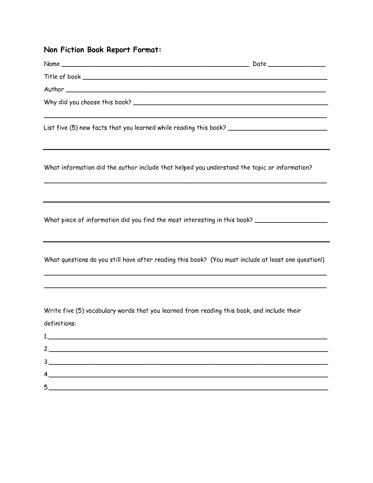 Non Fiction Book Report Format