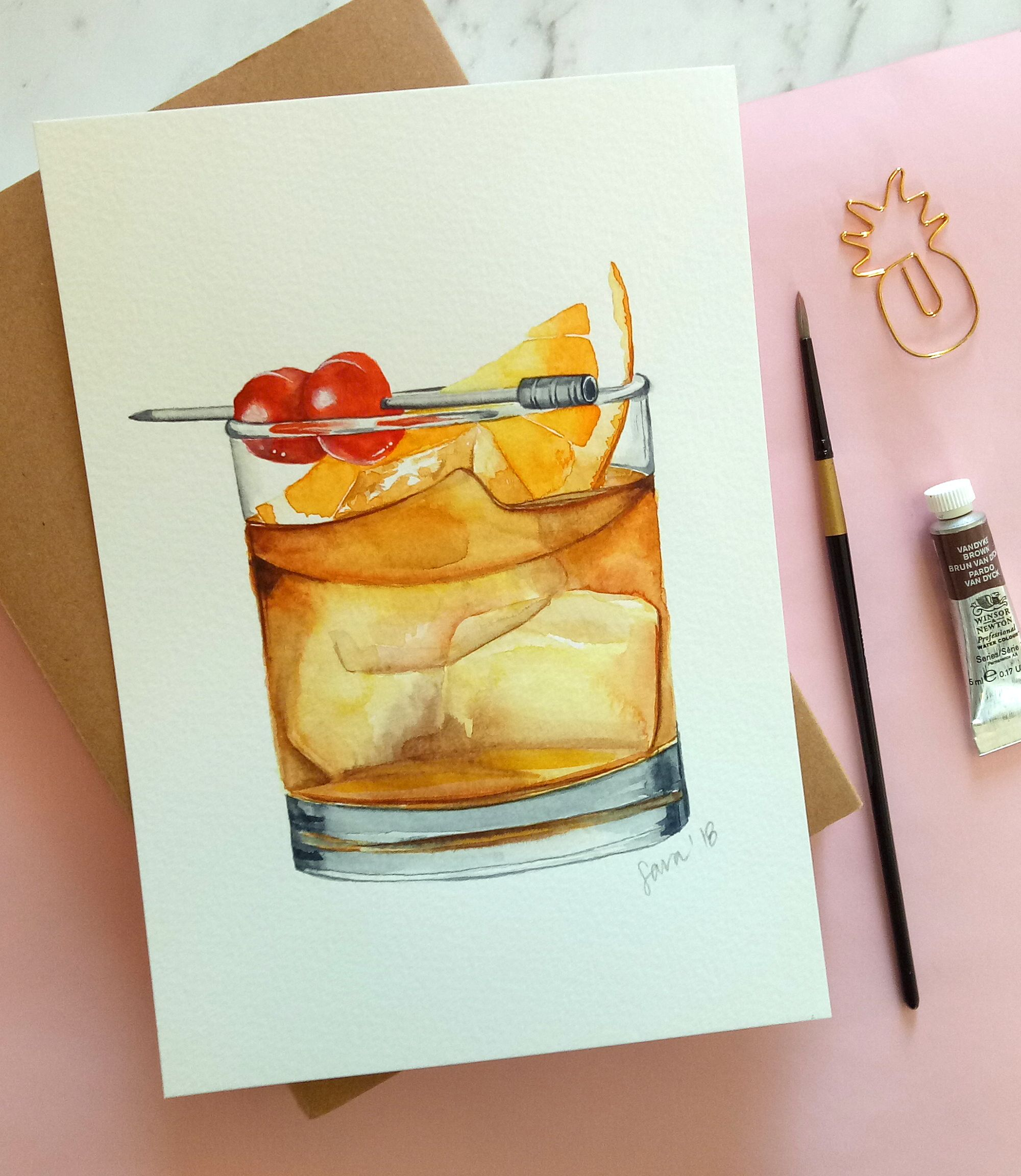 Old Fashioned Cocktail Watercolour Cocktail Illustration Old Fashioned Cocktail Watercolor Illustration