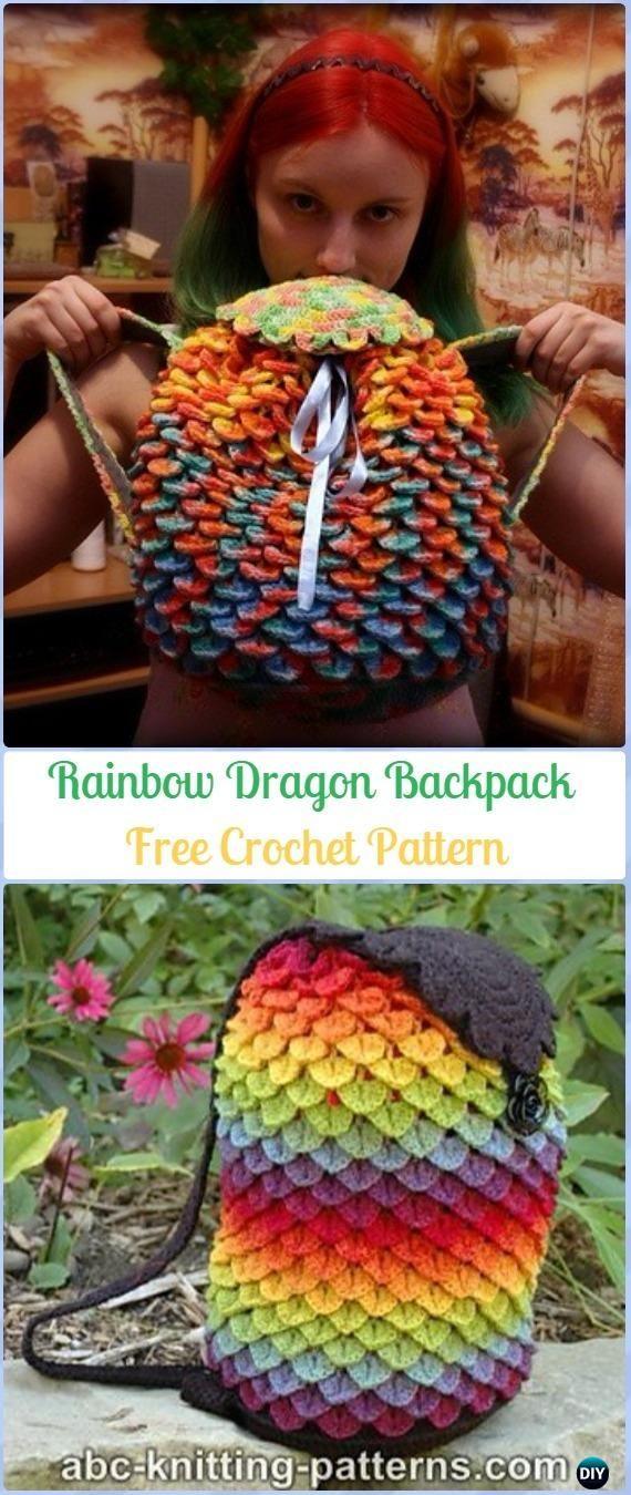 Crochet Crocodile St Rainbow Dragon Backpack Free Pattern Crochet