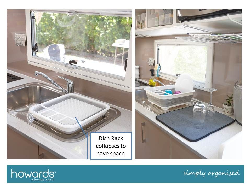 Two ideas for easier washing up a. Collapsible draining rack b. Drying mat See these and more in the Howards Caravan Storage Fact Sheet. & Two ideas for easier washing up: a. Collapsible draining rack b ...