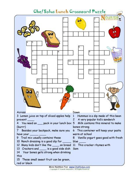 Printable Nutrition Crossword Puzzle Lunch Crossword