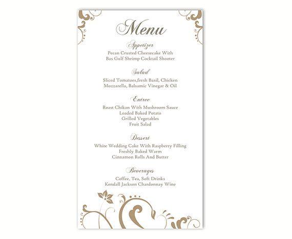 Wedding Menu Template DIY Menu Card Template Editable Text Word File - menu templates free download word