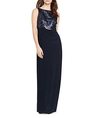 a3899215a9e25 Lauren Ralph Lauren Sequin Bodice Gown