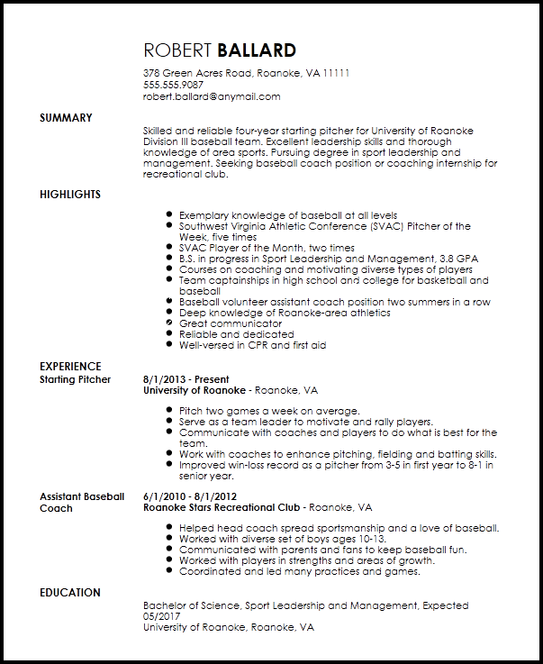 Free Entry Level Sports Coach Resume Template ResumeNow