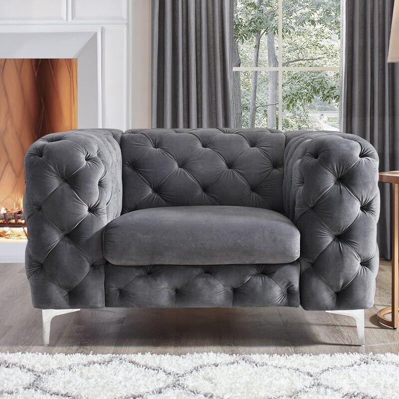 Koffler 48 W Tufted Velvet Chesterfield Chair Chesterfield Chair Furniture House