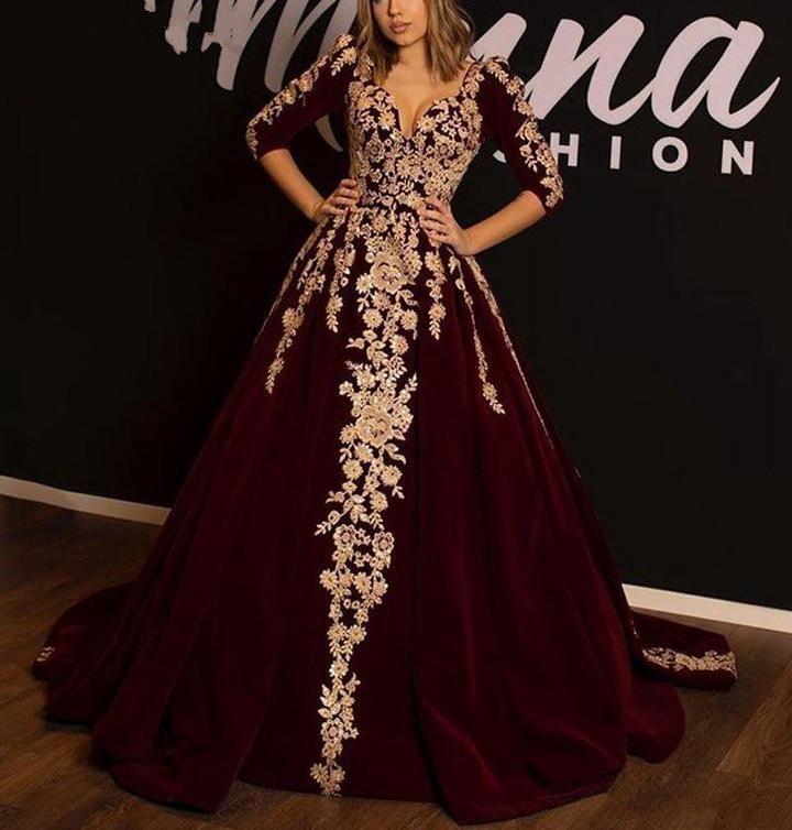 Photo of Stunning Burgundy Long Prom Dresses Celebrity 2019 Elegant Lace Appliqued Appliqued Half Sleeves Ruffled Formal Evening Dress