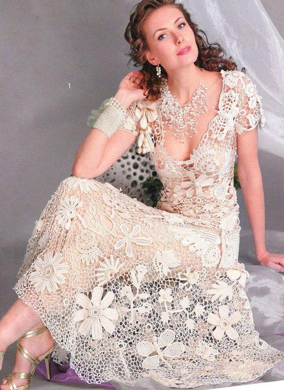 Crochet Patterns Russian eBook Irish Lace Dresses Wedding Fashion ...