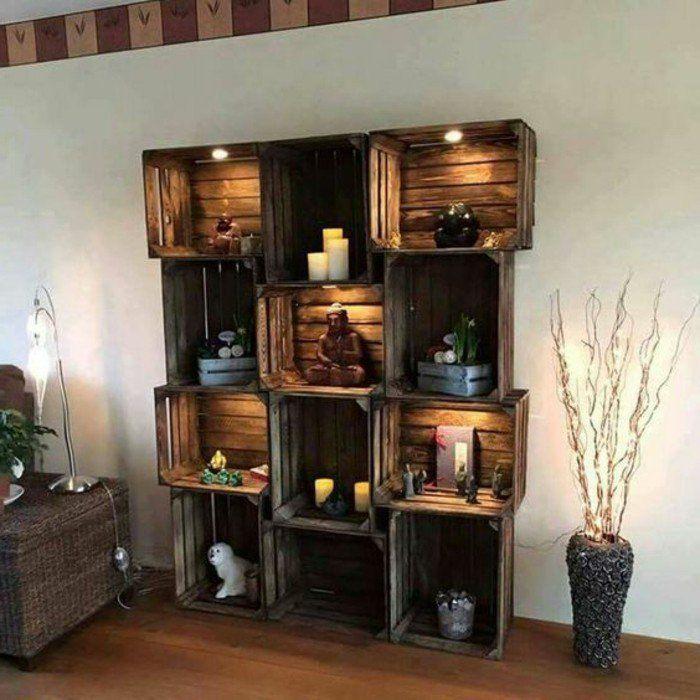 tag re en palette de bois une bouff e d inspiration rustique tag re originale accessoires. Black Bedroom Furniture Sets. Home Design Ideas