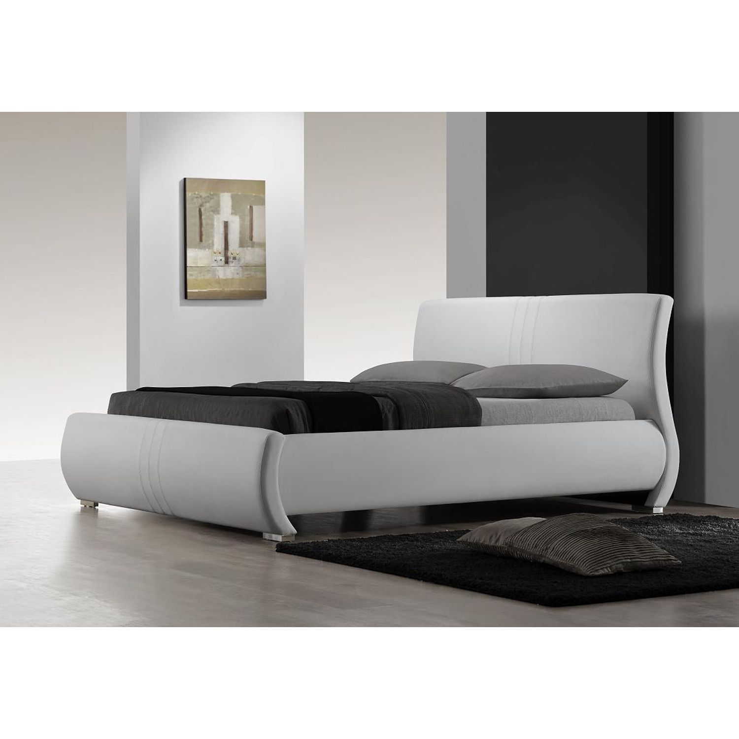 King size Contemporary White Faux Leather Platform Bed