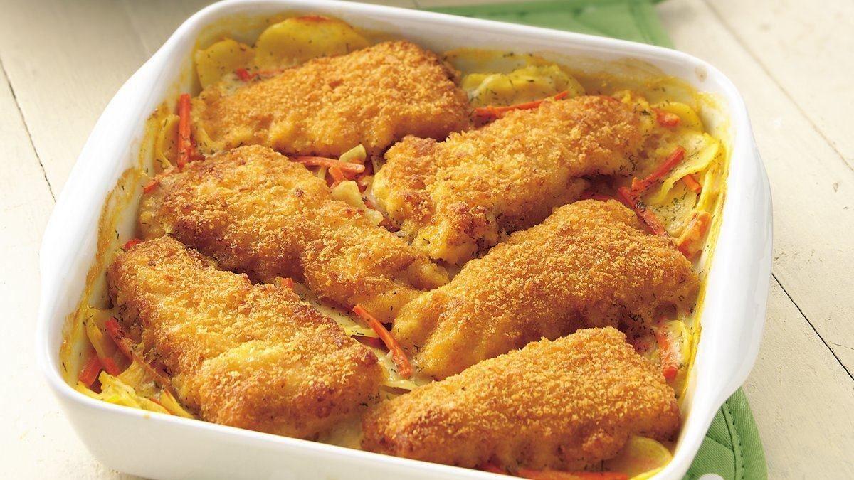 Crispy fishtopped au gratin potatoes recipe potatoes
