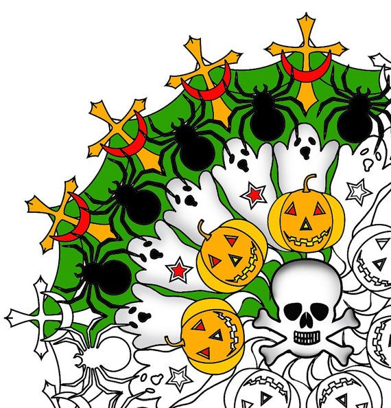 Halloween mandala adult coloring page printable Halloween