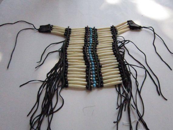 White BUFFALO BONE BREASTPLATE w/ Glass Beads Geronimo Regalia Pow Wow Indian #1