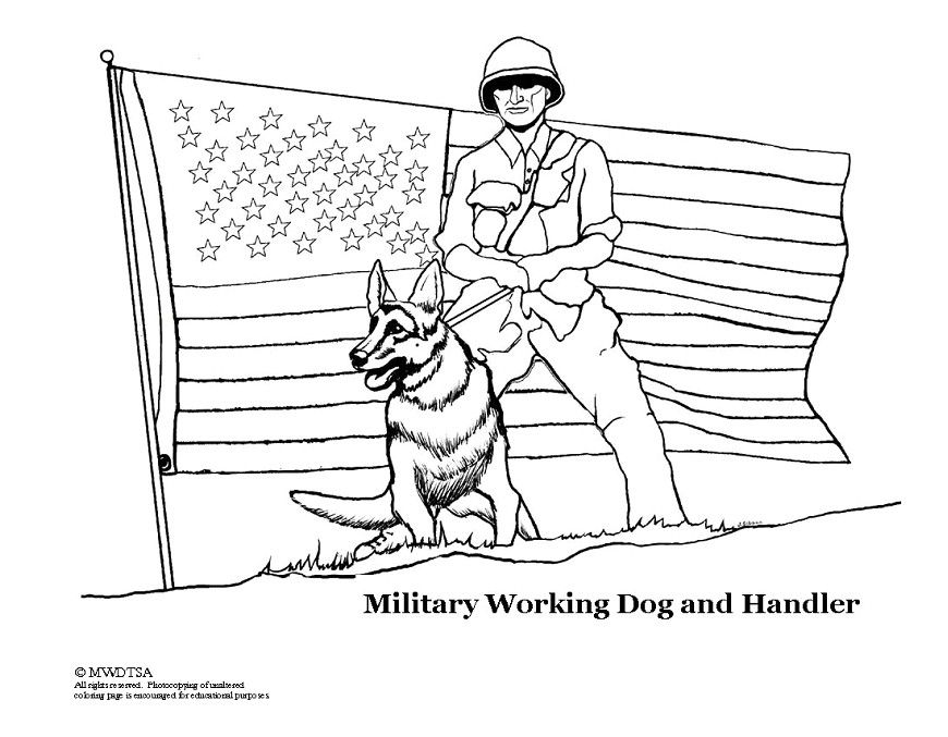 military dog printable coloring pages - photo#1