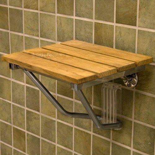 Wall-Mount Folding Teak Shower Seat | bedroom/bath | Pinterest ...