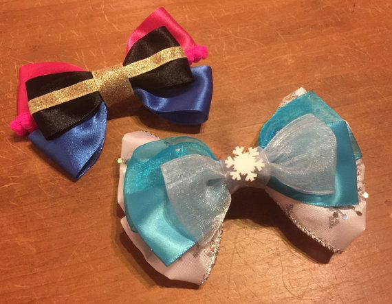 Frozen Elsa Hair Bow Bobble Handmade Cheerleader Style