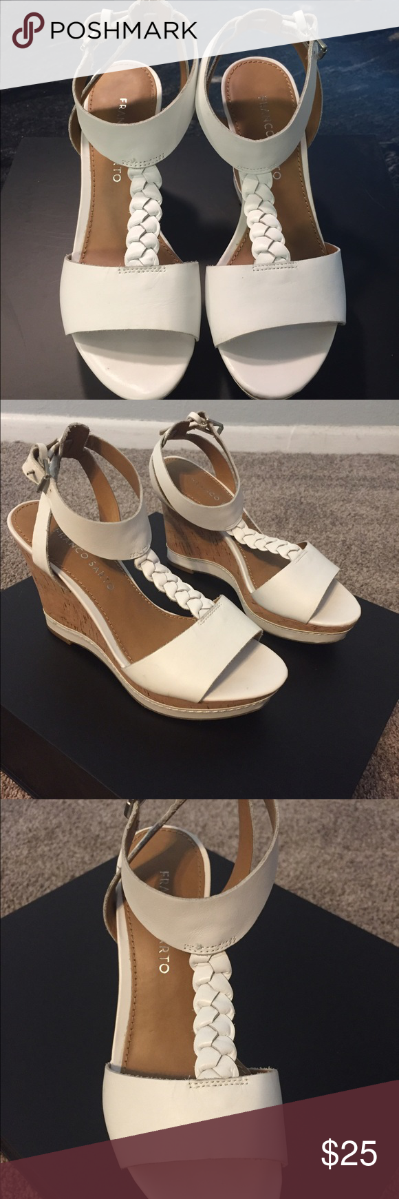 Franco Sarto wedge sandals size 5 1/2 Super cute white leather and cork wedge sandals. Like new. Perfect for spring! Franco Sarto Shoes Sandals