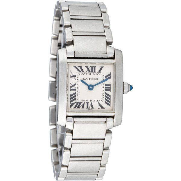 Pre-owned Cartier Tank Française Watch (€1.980) ❤ liked on Polyvore featuring jewelry, watches, silver, black dial watches, bracelet watches, black stainless steel jewelry, black wrist watch and roman numeral bracelet