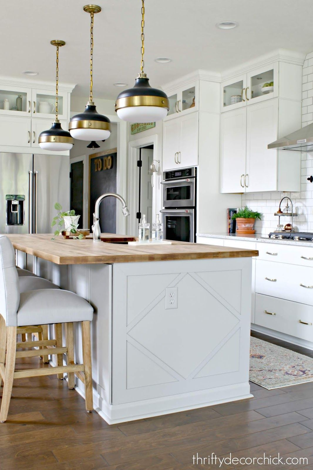 How to customize a plain kitchen island with side panels ...
