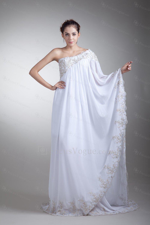 US $366.00 | Chiffon asymmetrisk gulvet længde kolonne broderede brudekjole