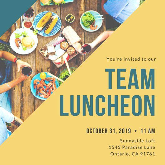 Yellow And Blue Luncheon Invitation