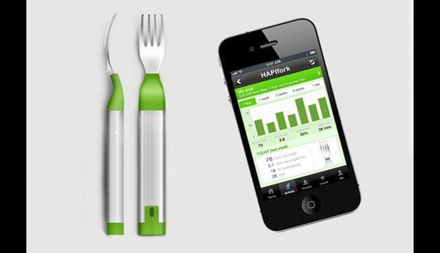 Hapifork. El tenedor inteligente que sincronizado con una aplicación móvil muestra todo tipo de información sobre hábitos alimenticios. Indica velocidad con que se ingieren los alimentos y el tipo de comidas.