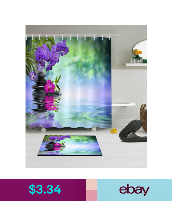 Bright Flowers Stones Waterproof SPA Polyester Zen Shower Curtain Bath Mat 4990