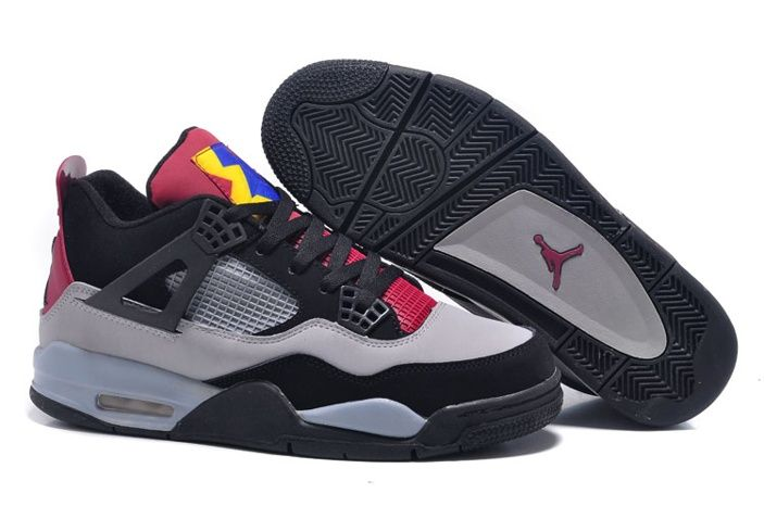 online retailer d77ae dec1c Nike Air Jordan 4 Gris Rojo Amarillo Negro Zapatillas De Baloncesto Violeta