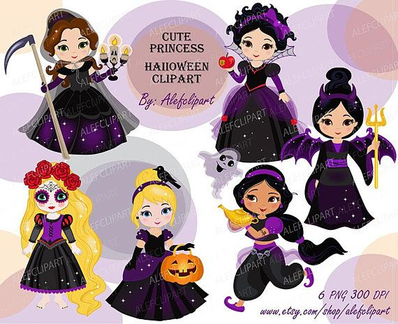 Cute Princess Halloween Clipart Instant Download Clipart