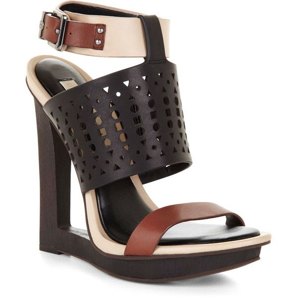 Bcbgmaxazria Meteur Cutout Wooden Wedge Sandal 100 Liked On Polyvore Featuring Shoe Wood Platform Sandals Strappy Platform Sandals Wooden Platform Sandals