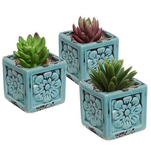 Set Of 3 Rustic Style Turquoise Ceramic Fl Design Succulent Plant Pots Mini Herb
