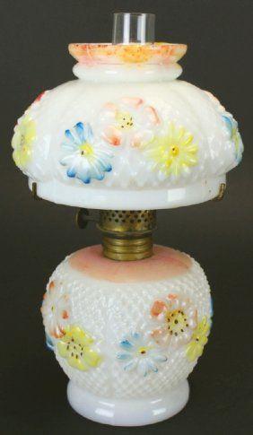 Kerosene Lamp, Milk Glass, Hand Paint
