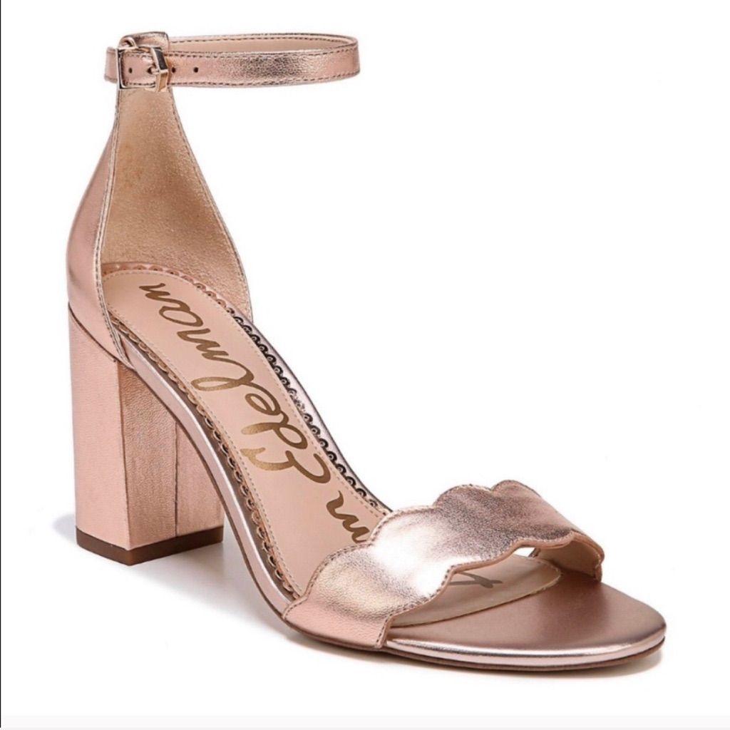 Sam Edelman rose gold block heels in