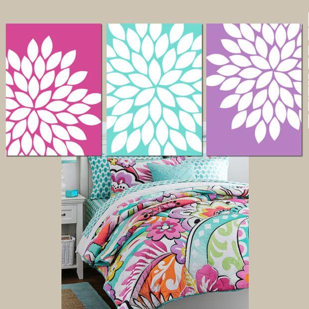 Pink Purple Aqua Wall Art CANVAS or Prints Bedroom Wall ...
