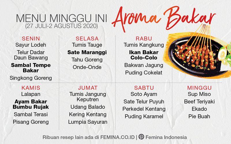 Menu Mingguan Aroma Bakar Masakan Indonesia Resep Masakan Menu Mingguan