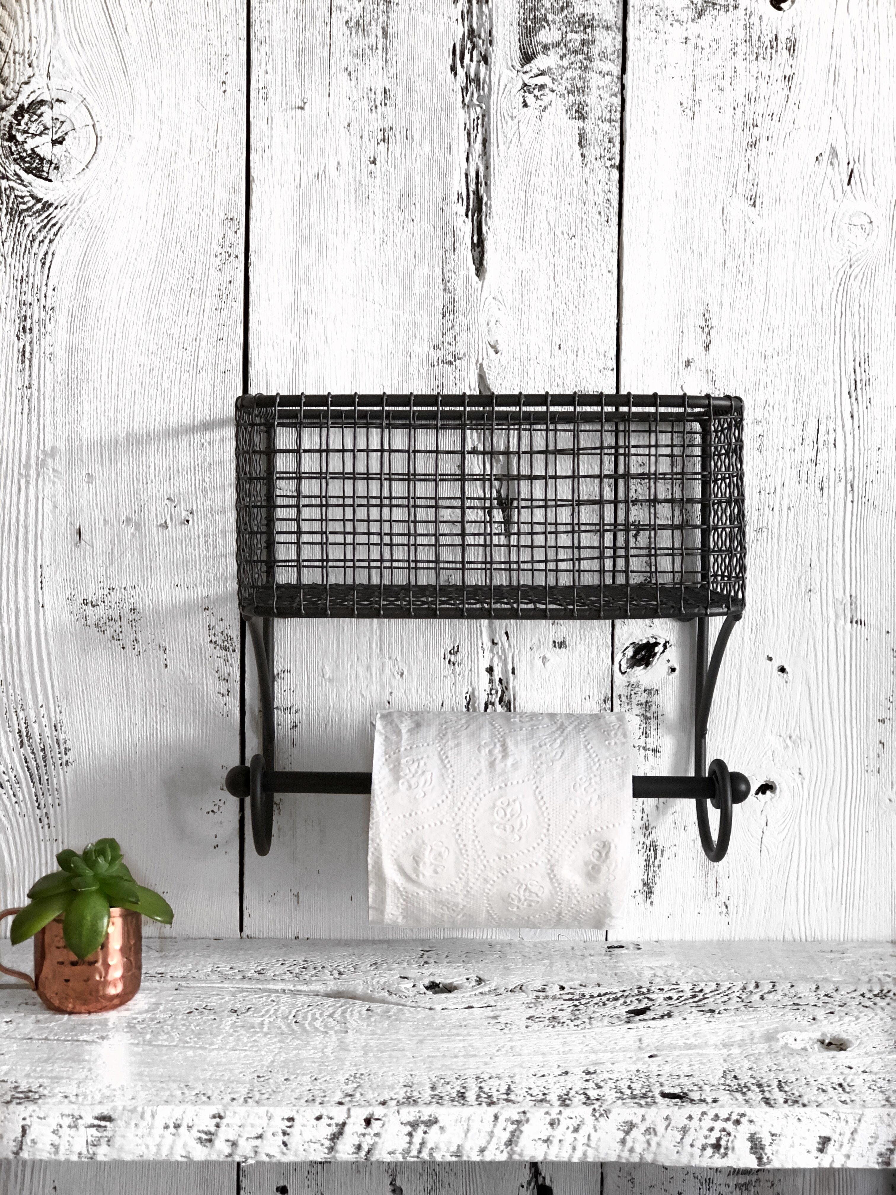 Wire Basket Toilet Paper Holder, Basket Towel Holder, Bathroom Decor ...