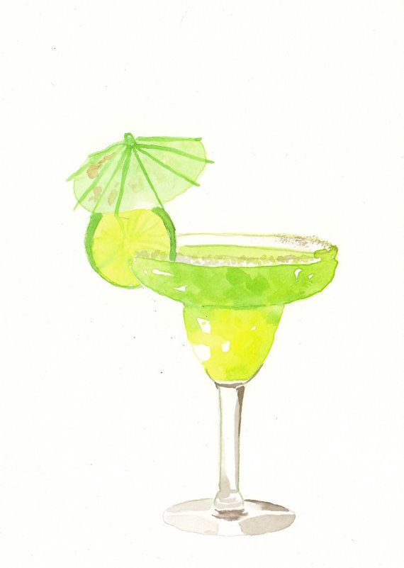 Original Watercolor Painting Green Margarita Cocktail By Milkfoam