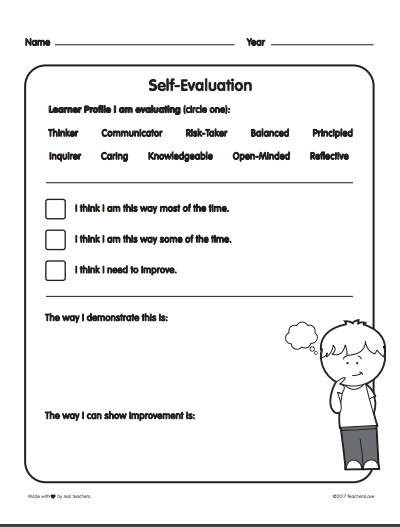 Self Reflection Sheet Evaluating Learner Profiles Great For Any