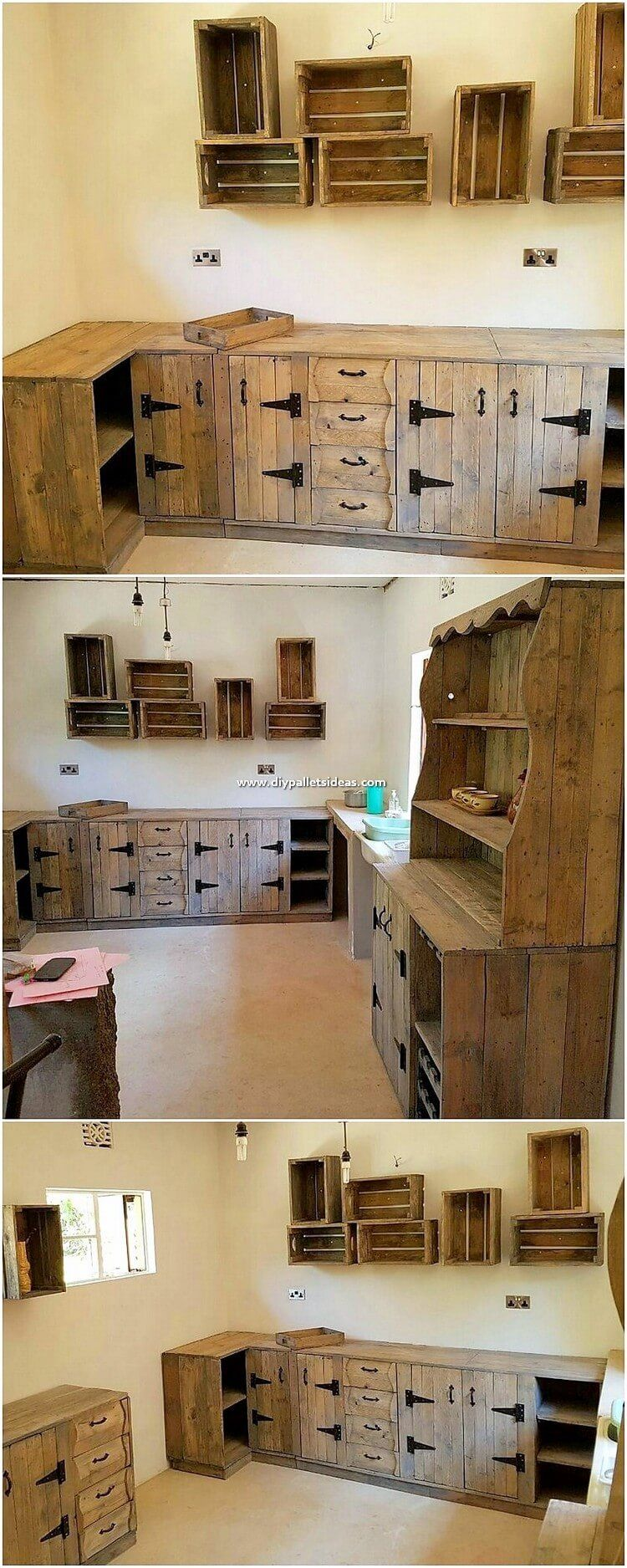 If You Do Want To Add Creativity In Designing The Wood Pallet Kitchen Cabinet Creation By Your Own Th Pallet Kitchen Cabinets Wood Pallets Diy Pallet Projects