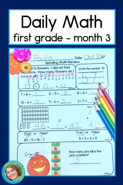 Daily Math For First Grade Month 3 Daily Math First Grade Daily Math Activities [ 1440 x 960 Pixel ]