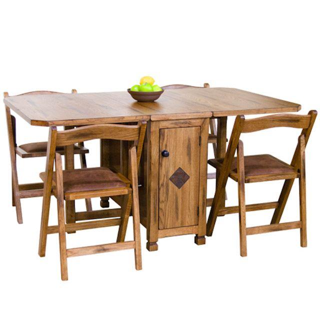 sedona rustic oak five piece dinette set drop leaf dinette table and four folding chairs - Small Dinette Sets