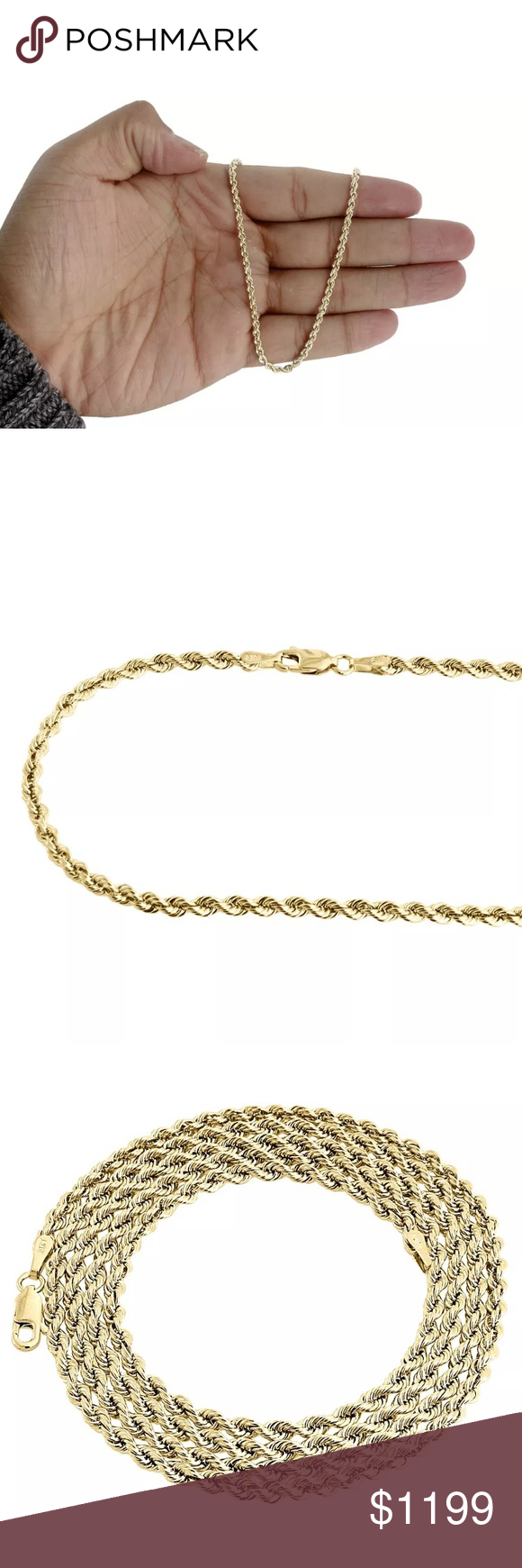 Real Heavy Solid Gold 26 Rope Chain 2mm Necklace Gold Rope Chains Rope Chain Solid Gold