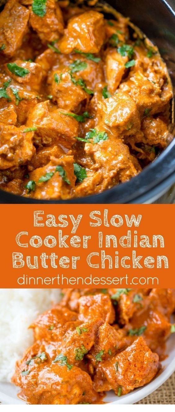 Slow Cooker Indian Butter Chicken By dinnerthendessert.com Slow Cooker Indian Butter Chicken made with spices you already have in your cabin... #crockpotmealprep