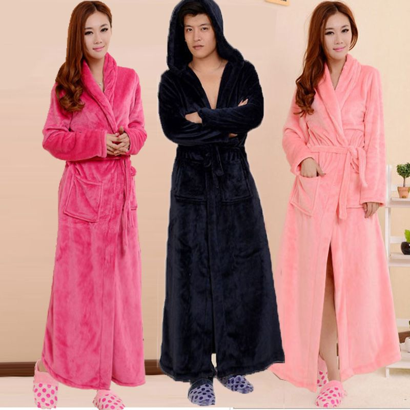 7f70c8e85952 Men and women extra long flannel Nightgown thickened white black extra long  bathrobes for adults in autumn and winter lovers home services